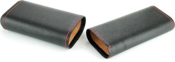 Funda de cuero Siglo negra con costura roja