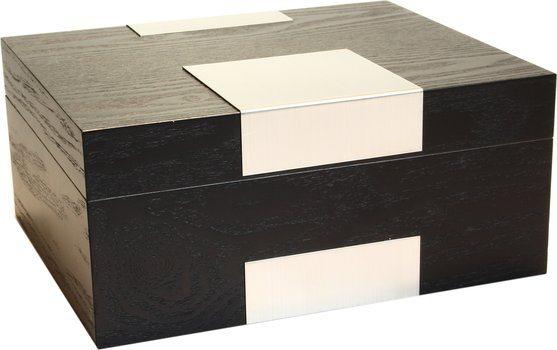 Humidor revestido con madera real - Negro escarchado