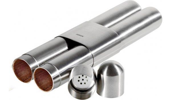Estuche para puros Adorini de acero de alta calidad con acabado satinado/cedro (para 2 puros)