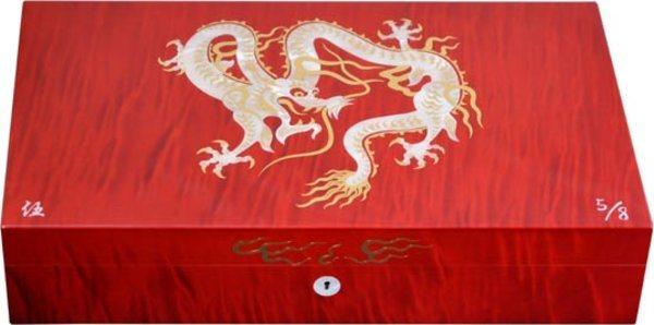 Humidor Elie Bleu Dragón Nacarado Edición Limitada Rojo