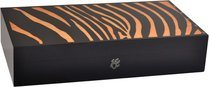 Humidor Elie Bleu Safari Marquetería Cebra Naranja para 110 Puros