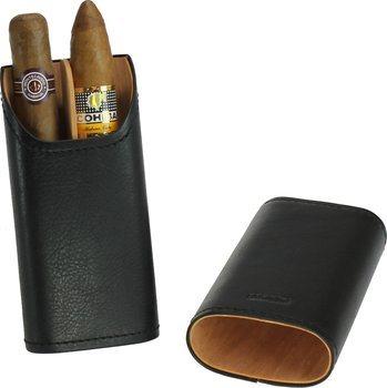 Funda de piel auténtica adorini para 2-3 puros (negro)